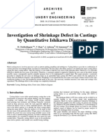 [22992944 - Archives of Foundry Engineering] Investigation of Shrinkage Defect in Castings by Quantitative Ishikawa Diagram