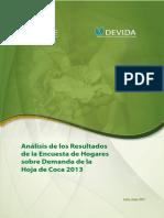 Análisis resultados encuesta hogares sobre demanda Hoja de Coca 2013