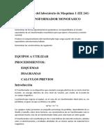 Informe Previo Transformador Monofasico