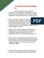 Historia y Evolución de Los Lenguajes Autómatas