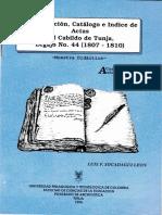 2. Transcripción, Catálogo e Índice de Actas Del Cabildo de Tunja, Legajo No. 44 (1807-1810)