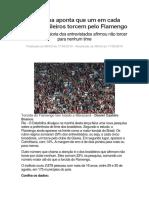 Datafolha Aponta Que Um Em Cada Cinco Brasileiros Torcem Pelo Flamengo