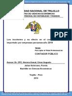 Los incoterms y su efecto en el costo del cuero importado por empresas peruanas - Año 2019
