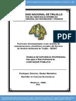 Funciones desempeñadas como analista de remuneraciones y beneficios sociales del Servicio de Gestión Ambiental de Trujillo - SEGAT