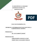 INFORME DE LA DETERMINACIÓN DE PH DE AGUA PARA LA ELABORACIÓN DEL CONCRETO