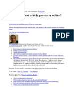 What is the Best Article Generator Online