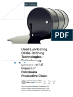 Used Lubricating Oil Re-Refining Technologies – Reducing the Environmental Impact of Petroleum Productive Chain