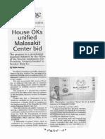 Daily Tribune, Sept. 19, 2019, House OKs unified Malasakit Center bid.pdf