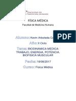 Trabajo Seminario 2 - Biodinamica Medica-trabajo, Energia, Potencia. Biofisica Muscular