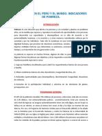 La Pobreza en El Perú y El Mundo, Indicadores