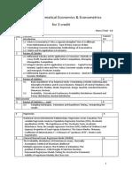 Vth Semester Notes for Students for Mathematical Economics & Econometrics Vth Semester