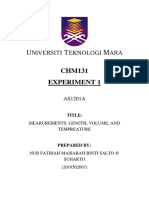 Chm131 Experiment 1