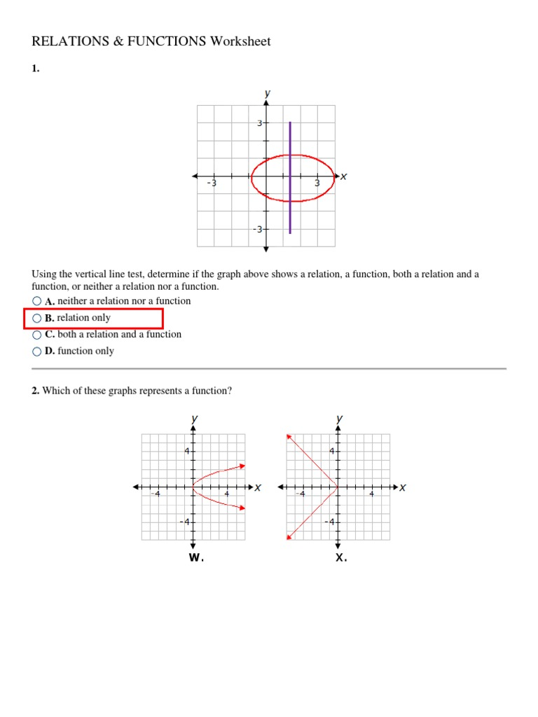 MATH23-Relations and Functions Worksheet Answers  PDF  Function Intended For Vertical Line Test Worksheet