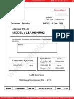 data sheet panel LTA400MH01
