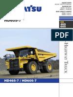 Komatsu Hd465-7 Hd605-7 Rigid Dump Trucks
