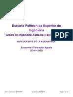 Guia Docente 109302205 - Economia y Valoracion Agraria - Curso [1920]