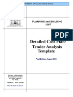 Detailed Cost Plan Tender Analysis Template