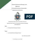 Tesis. El Aporte Del Turismo Al Crecimiento Economico de Nic. 2014-17