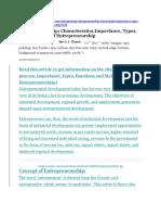 Entrepreneurship Characteristics Importance