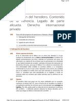 1. Subrogación Del Heredero. Contenido de La Herencia. Legado de Parte Alícuota. Derecho Internacional Privado