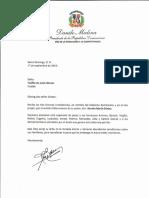 Carta de condolencias del presidente Danilo Medina por fallecimiento de Ramón María Gómez