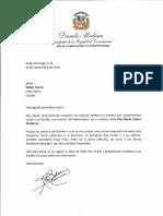 Carta de condolencias del presidente Danilo Medina por fallecimiento de Flor María Castro Gutiérrez