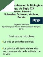 Cambios en la biologia del siglo XIX. Pasteur, Bernard, Schleiden, Schwann, Virchow, Darwin