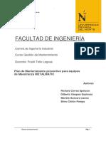 Informe Plan de Mtto. Preventivo Para Equipos de Maestranza Metalmatic