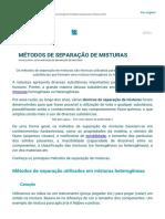 Métodos de Separação de Misturas - Manual Da Química