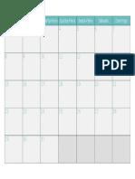 Calendario Julho 2019 Turquesa