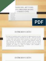 ANÁLISIS DEL ARTÍCULO X DEL TÍTULO PRELIMINAR DEL CÓDIGO CIVIL