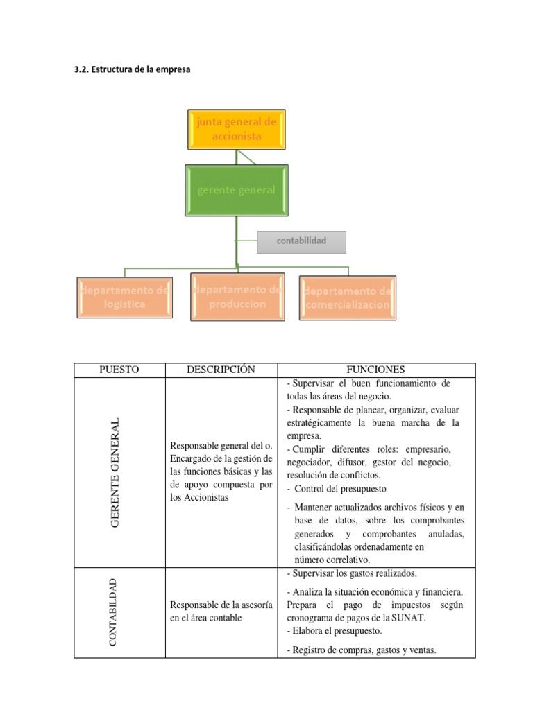 Estructura De La Empresa Presupuesto Contabilidad