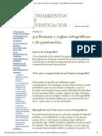 3.1 Normas y Reglas Ortográficas y de Puntuación - FUNDAMENTOS de INVESTIGACION