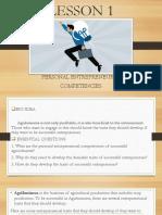 LESSON 1 personal entrepreneural competencies