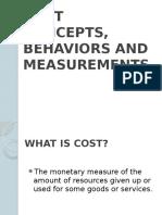 Cost Concepts Behaviors and Measurements