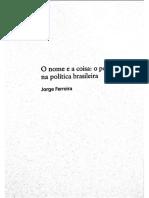 o nome e a coisa populismo na politica brasileira
