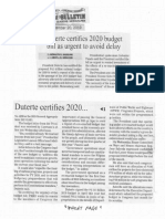 Manila Bulletin, Sept. 20, 2019, Duterte certifies 2020 budget bill as urgent to avoid delay.pdf