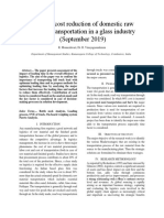 Strategic Cost Reduction Of Domestic Raw Material Transportation In a Glass Industry (September 2019)