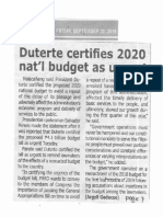 Tempo, Sept. 20, 2019, Duterte certifies 2020 nat'l budget as urgent.pdf