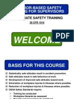 Behavior Based Safety Training for Supervisors