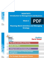 Planning Work Activities and Managing Strategy