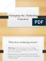 Managing Marketing Functions