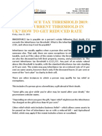 Inheritance Tax Threshold 2019