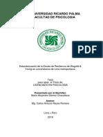 (2019 SÍ) Estandarización de Escala de Resiliencia de Wagnild & Young en Universitarios de Lima Metropolita