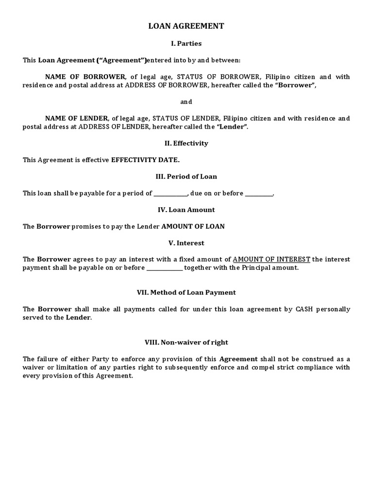 Sample Of Loan Agreement Philippines Docx Loans Interest