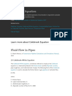 Colebrook Equation fluid flow in pipes