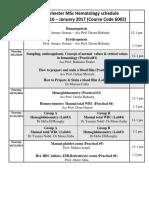 1st Semester Schedule 2016- 2017