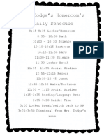 our daily schedule - students