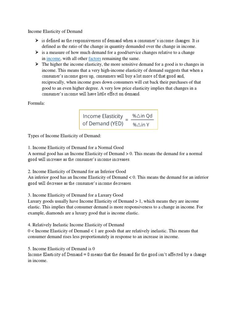 Income Elasticity Of Demand Docx Price Elasticity Of Demand Demand