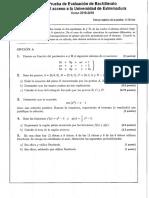 Examen PAU Extremadura 2019. Matemáticas
